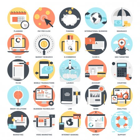 Illustration for Abstract vector collection of colorful flat business and finance icons. Design elements for mobile and web applications - Royalty Free Image