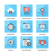 Vector set of flat data management icons on following themes - cloud storage file management search optimization performance technical service navigation big data data processing sync