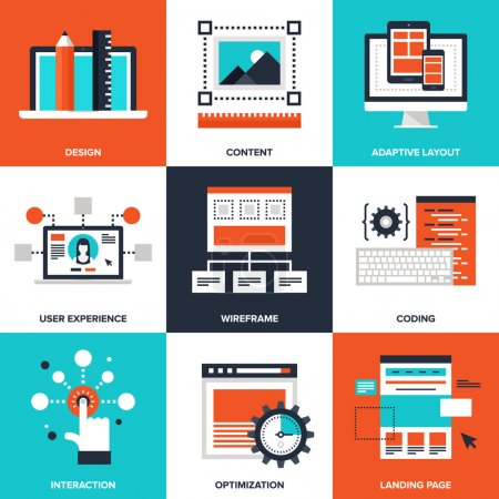 Illustration for Vector set of flat web development icons on following themes - design, content, adaptive layout, user experience, wireframe, coding, interaction, optimization, landing page - Royalty Free Image