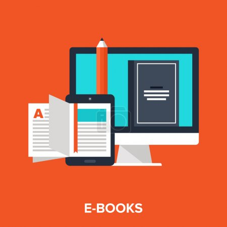 Illustration for Abstract vector illustration of e-books flat design concept - Royalty Free Image