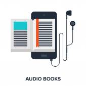 Abstract vector illustration of audio books flat design concept