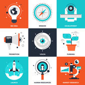 Vector set of flat startup and new business icons on following themes - big idea mission development promotion vision funding launch human resources market research