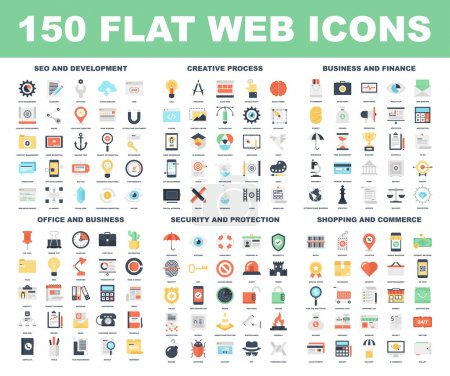 Illustration for Vector set of 150 flat web icons on following themes - SEO and development, creative process, business and finance, office and business, security and protection, shopping and commerce - Royalty Free Image