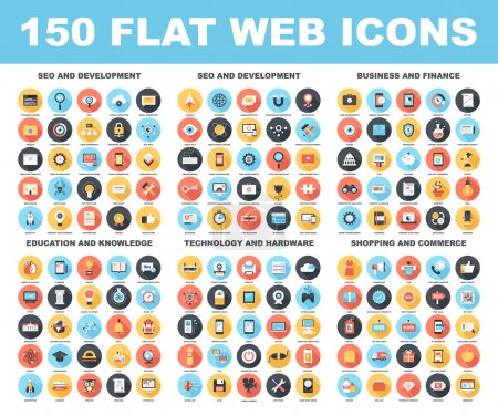 Illustration for Vector set of 150 flat web icons with long shadow on following themes - SEO and development, business and finance, education and knowledge, technology and hardware, shopping and commerce - Royalty Free Image