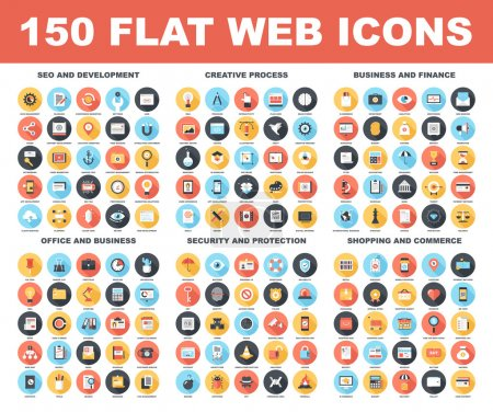 Illustration for Vector set of 150 flat web icons with long shadow on following themes - SEO and development, creative process, business and finance, office and business, security and protection, shopping and commerce - Royalty Free Image