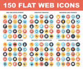 Vector set of 150 flat web icons with long shadow on following themes - SEO and development creative process business and finance office and business security and protection shopping and commerce