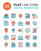 Abstract vector collection of flat line digital marketing icons Elements for mobile and web applications