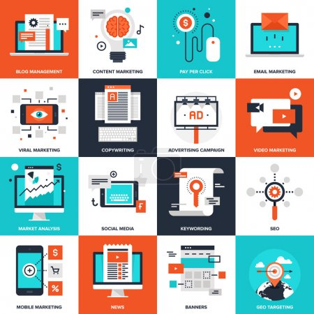 Illustration for Abstract vector collection of flat digital marketing icons. Elements for mobile and web applications - Royalty Free Image