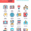 Vector set of education and knowledge flat line we...