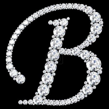 B Carta hecha de diamantes y gemas