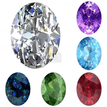 Set of colored gems