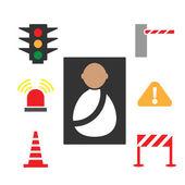 Traffic signals set transportation icons set on white background