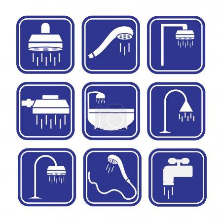 Blue shower icons set