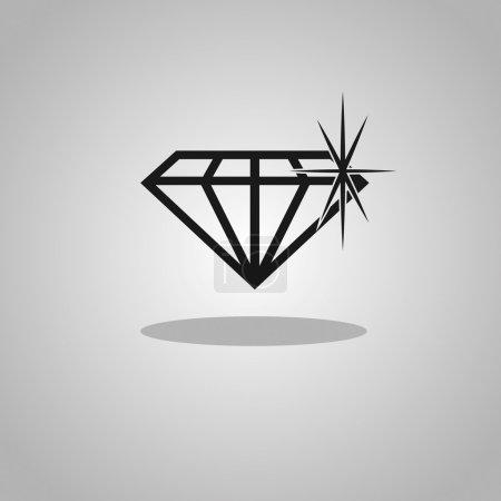 Illustration pour Icône vectorielle Diamant noir sur fond gris - image libre de droit