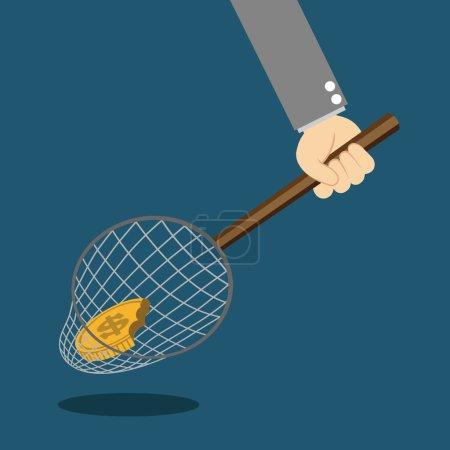 Illustration pour Argent dans le filet de pêche - image libre de droit