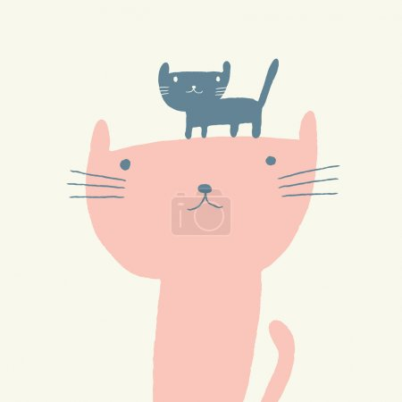 Illustration for Vector illustration of a cute cat and a kitten for mothers day - Royalty Free Image
