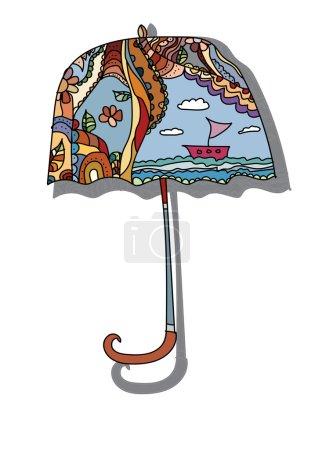 Photo pour Parapluie belle fleurs peintes bateau de motifs sur fond blanc - image libre de droit
