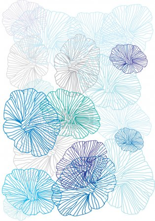 Photo pour Fond blanc avec de belles fleurs bleus linéaires - image libre de droit