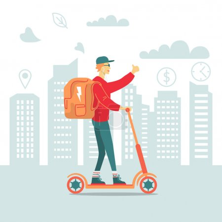 Illustration for Food delivery man with backpack riding electric scooter in big city. Vector illustration - Royalty Free Image