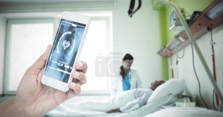 businesswoman holding smart phone
