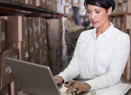 Warehouse manager using laptop
