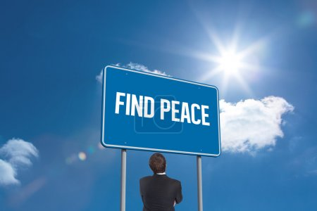 Word find peace and thinking businessman