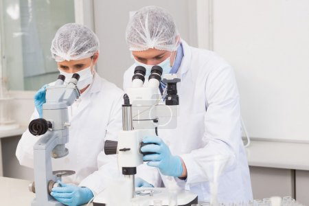 Scientists working attentively with microscopes
