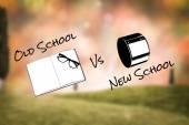 Složený obraz staré školy vs nová škola