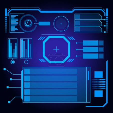 Illustration for Sci Fi Futuristic User Interface. Vector Illustration. - Royalty Free Image