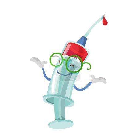 Illustration pour Mascotte de personnage de dessin animé seringue médicale sur fond blanc - image libre de droit