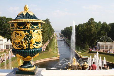 Grand cascade in Perterhof. The Peterhof palace included in the