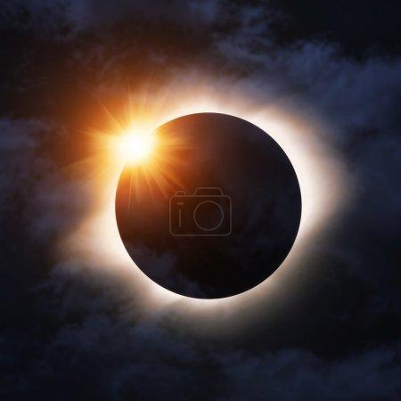 Photo pour Éclipse totale de soleil avec léger flare - image libre de droit