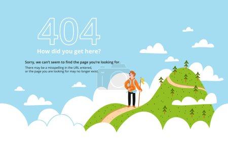 Illustration pour Erreur 404 page avec un modèle vectoriel de montagne - image libre de droit