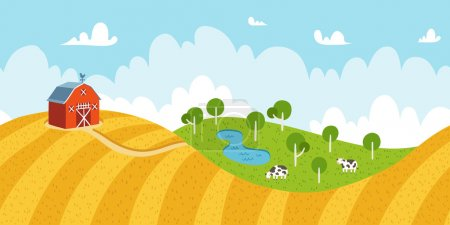 Illustration for Seamless countryside rural landscape with fields, barn and cows - Royalty Free Image