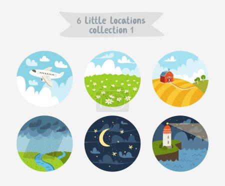 Illustration pour Ensemble de 6 emplacements de cercle, petits paysages, paysages marins et nuageux, illustration vectorielle, style plat - image libre de droit