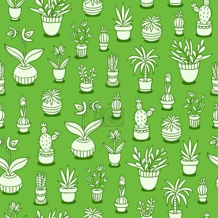 Illustration for Home plants seamless pattern on green background - Royalty Free Image