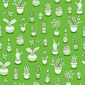Home plants seamless pattern on green background