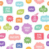 Colorful phrases seamless pattern on white background