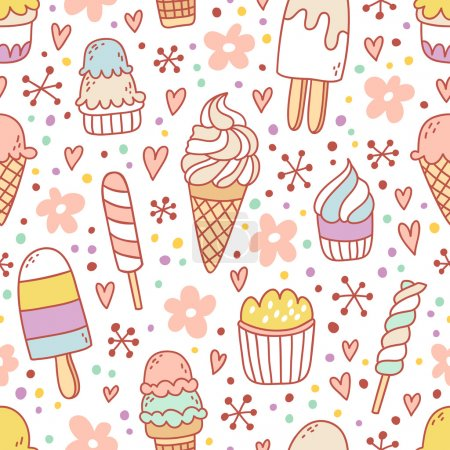Yummy ice cream seamless pattern