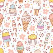 Yummy ice cream seamless pattern