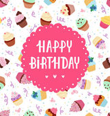 Happy birthday greeting on a cupcakes seamless pattern