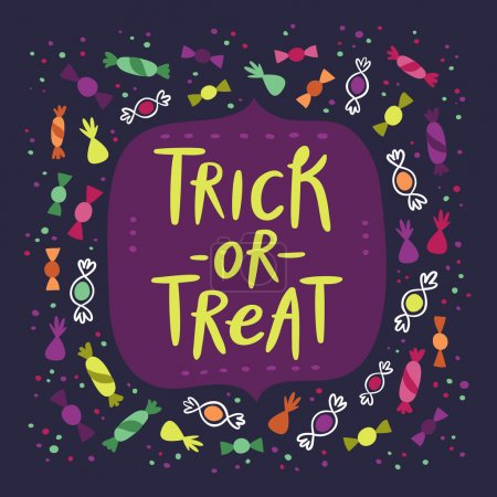 Illustration pour Halloween tour ou traiter la carte de bonbons - image libre de droit