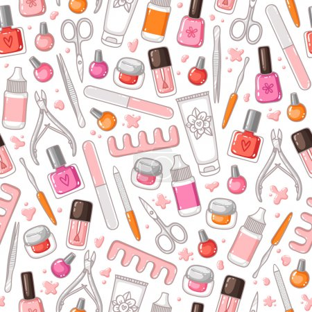 Illustration for Manicure tools vector seamless pattern - Royalty Free Image