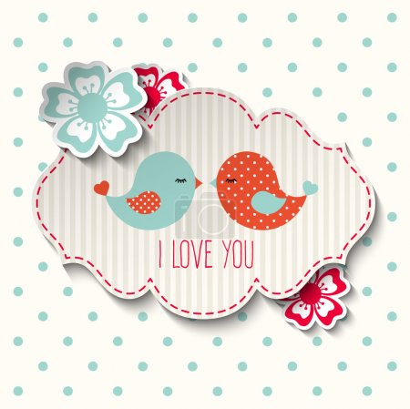 Two cute birds with flowers and text I love you, illustration