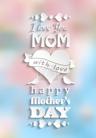 mother's day card, white text on blurred background