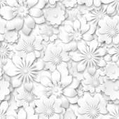 Seamless background - white flowers with 3d effect vector illustration eps 10 with transparency