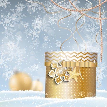 golden giftbox, christmas motive