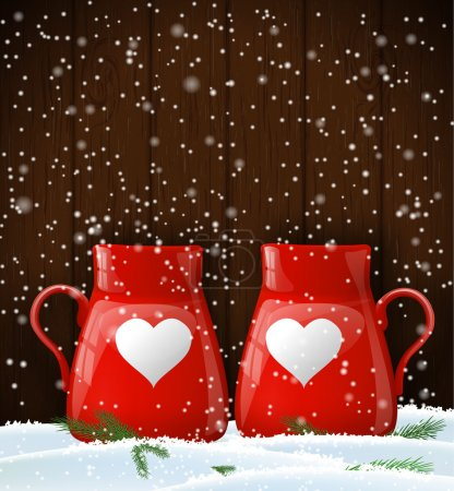 Red cups with white heart, winter theme, illustration
