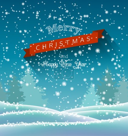 christmas greeting card with winter landscape, illustration