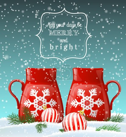 two red cups with white snowflake, winter theme, illustration